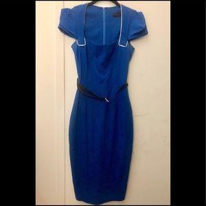 Asos Hybrid blue pencil dress belt puff zara retro
